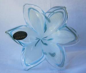 Genuine-Italian-Art-Blown-Glass-Flower-Murano-TEAL-made-in-Italy-No-715