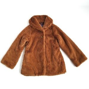 b53f1a844 Details about Patagonia Fuzzy Faux Fur Coat Girls S (8) Two Button Collared  Brown