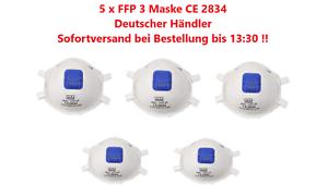 5 x FFP 3 Mundschutz Maske mit Ventil CE2834 Gesichtsmaske Atemschutzmaske FFP3