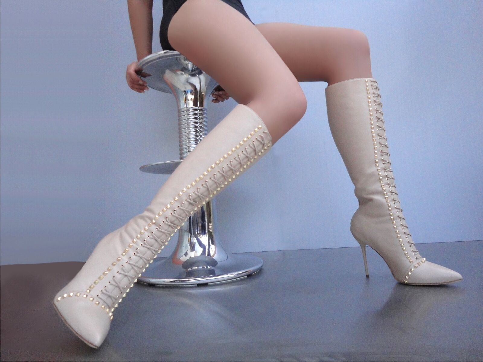 CQ COUTURE CORSET CUSTUM KNEE HIGH STUDS BOOTS ITALY LEATHER NUDE BEIGE 10 40