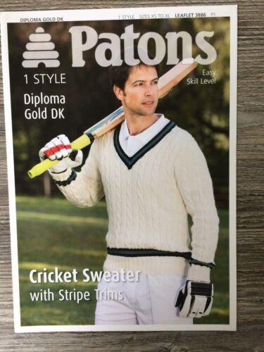 """32-44/"""" DK 3886 Patons Tejer patrón: para hombre Suéter De Cricket"""