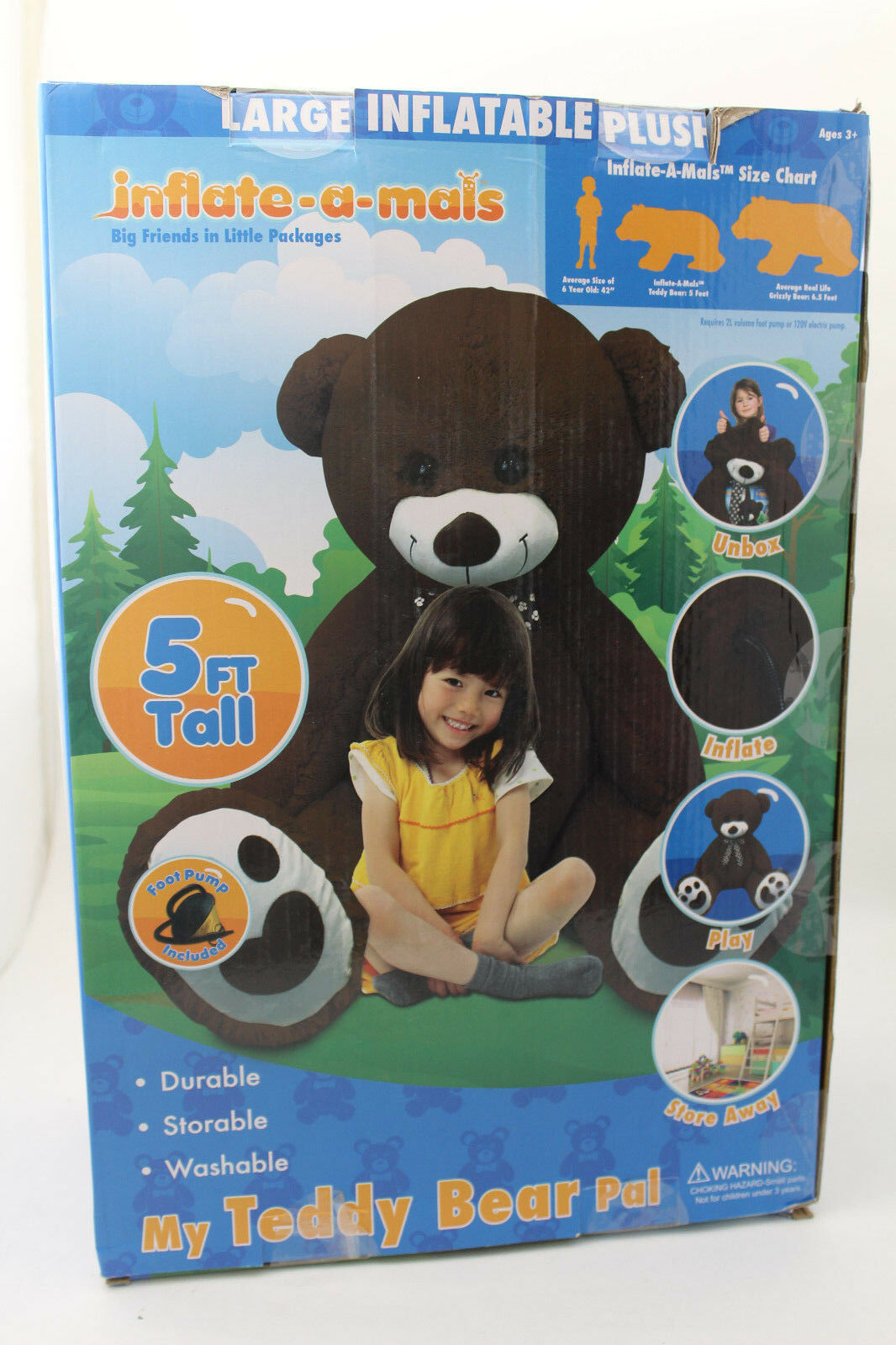NEW 5 FOOT PLUSH INFLATABLE TEDDY BEAR BY INFLATE-A-MALS. + FOOTPUMP nice gift