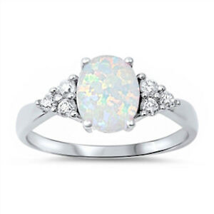 BEST-SELLIING-Lab-created-White-Opal-amp-CZ-925-Sterling-Silver-Ring-Size-4-12