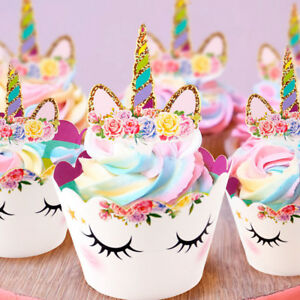 Licorne arc en ciel cupcake d coration g teau emballages gar on fille bapt me ebay - Decoration gateau bapteme fille ...