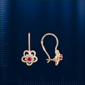 Rose-Rotgold-585-Blume-Kinder-Ohrringe-Brillanten-amp-Rubin-KIDS-Diamond-earrings