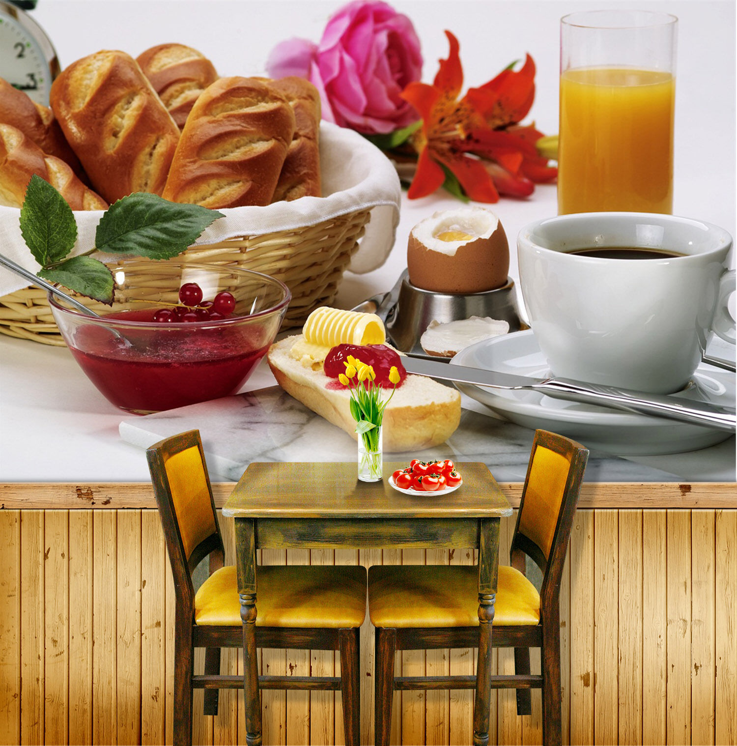 3D Breakfast, flowers Wall Paper Print Wall Decal Deco Indoor Wall Murals