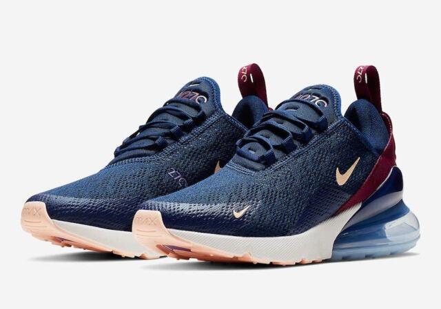 Nike Air Max 270 Blue Void/crimson Tint Womens Running Shoes Ah6789 402  Size 5.5