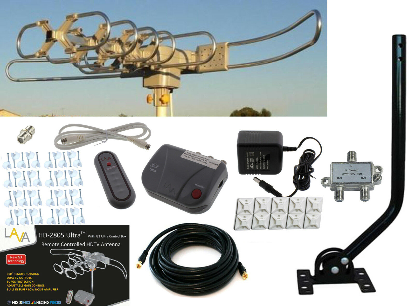 LAVA HD 2805 HDTV DIGITAL ROTOR OUTDOOR TV ANTENNA CABLE Install Kit w/ J-Pole. Available Now for 99.90