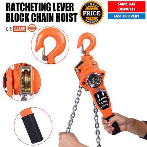 1.5 TON LEVER BLOCK CHAIN HOIST 2-HOOK RATCHET TYPE COMEALONG PULLER LIFTER
