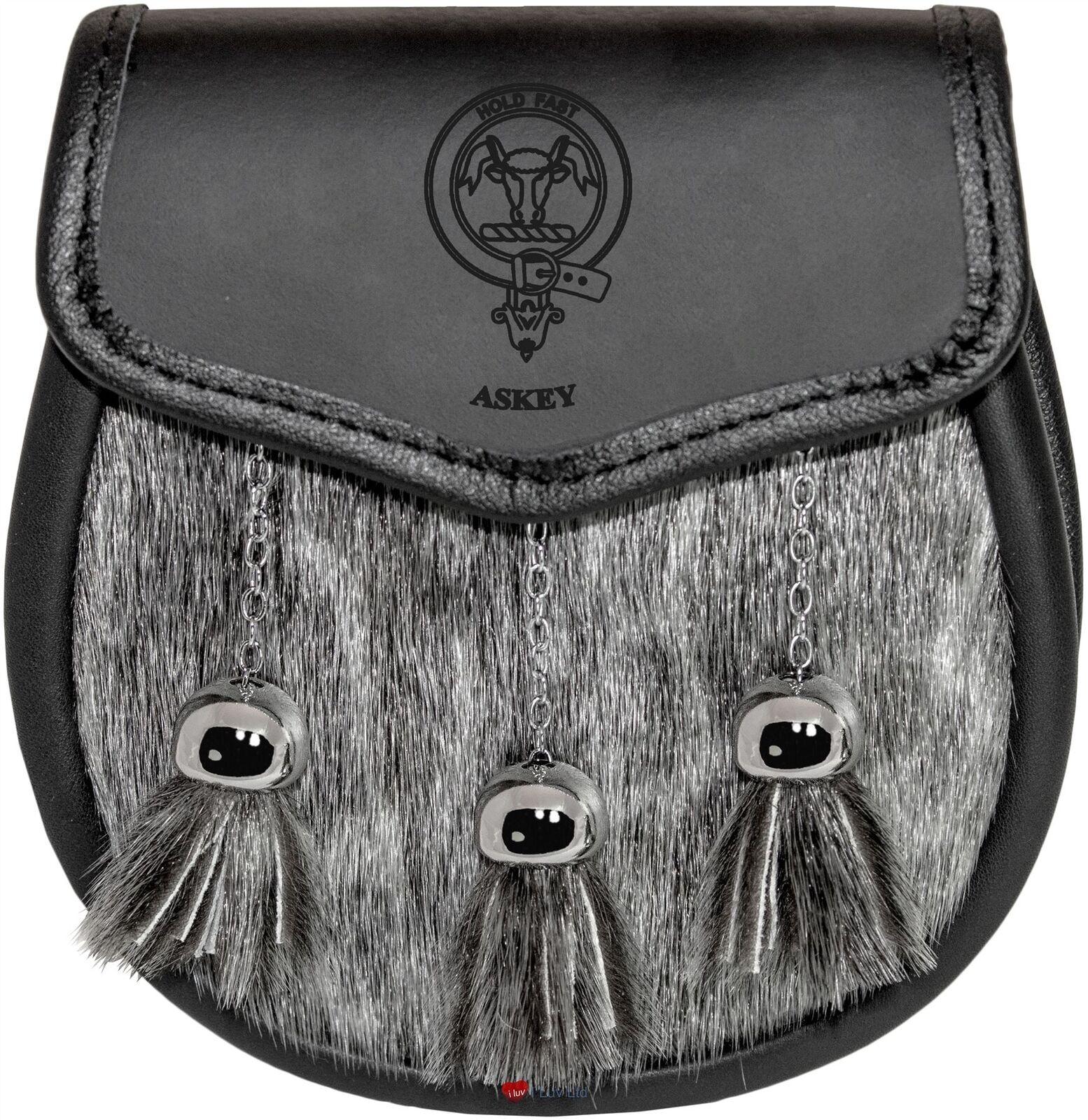 Askey Semi Dress Sporran Fur Plain Leather Flap Scottish Clan Crest