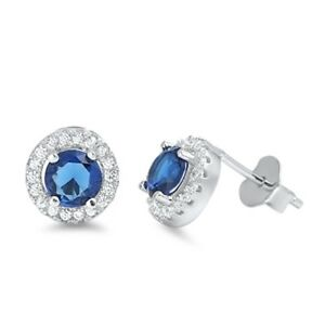 925-Sterling-Silver-ROUND-BLUE-SAPPHIRE-CLEAR-CUBIC-ZIRCONIA-STUD-EARRING