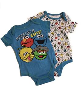 Girl NB 0-3 24 Elmo Cookie Big Bird Oscar Sesame Street Bodysuits NIP Baby Boy