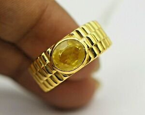 Solid 14K Yellow Gold Natural Yellow Sapphire Gemstone Solitaire Men's Ring