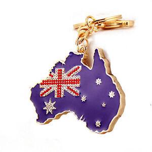 Australia Map Key.Australia Flag Pendant Keychain Australia Map Charm Key Ring
