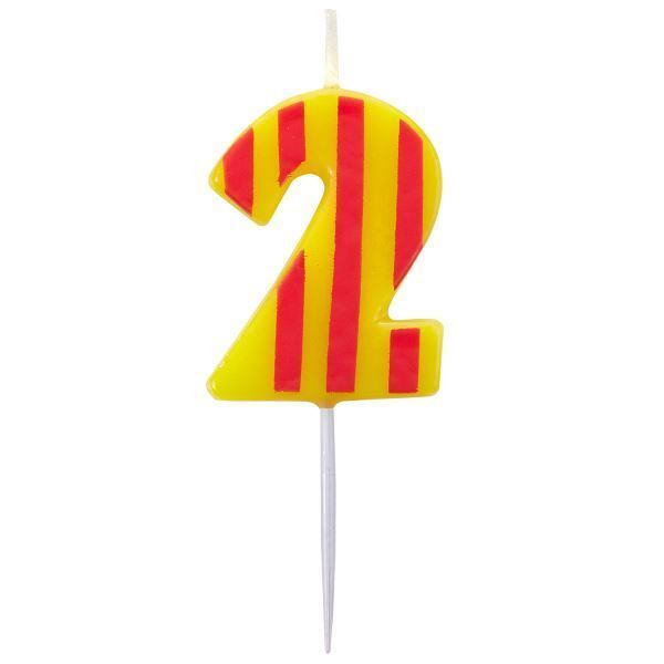 Striped Red Orange 2 Candle 2nd Birthday Party Cake Decorations