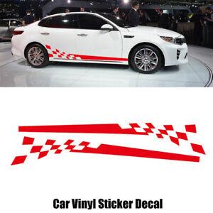 2x-Rot-Auto-Gitter-Aufkleber-Rennstreifen-Seitenaufkleber-Streifen-Zierstreifen