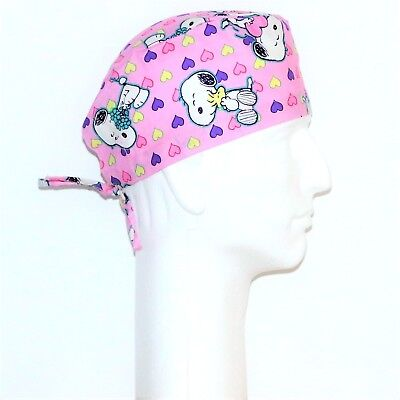 Peanuts Gang Snoopy Valentine/'s theme on pink scrub hat