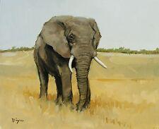 Original Oil painting - wildlife art -  elephant portrait  - by j payne