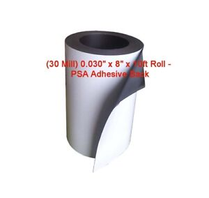 """30 Mill 0.030/"""" x 24-3//8/"""" x 10 ft Flexible Magnetic with PSA Adhesive"""