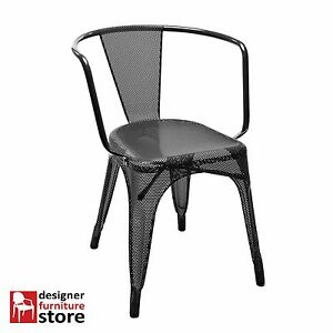 Replica-Tolix-Stackable-Cafe-Armchair-Perforated-Mesh-Black