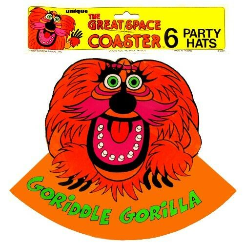 ~ Birthday Party Supplies GORIDDLE GORILLA Vtg THE GREAT SPACE COASTER HATS 6