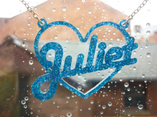 by Dotty Flamingo funky laser cut personalised Name necklace heart//star