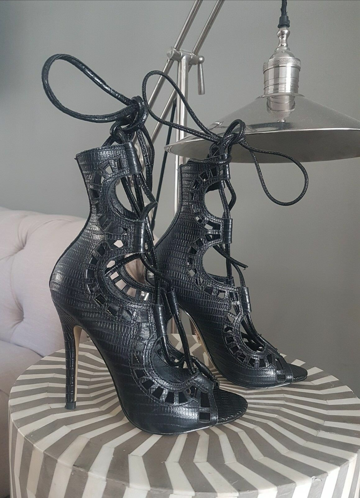 .Black Lizard Windsor Smith heels. Worn only once.   Excellent condit