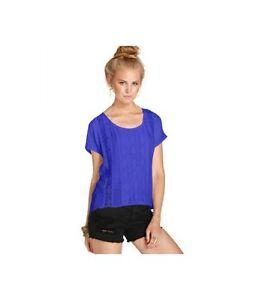 NWT-34-EYE-SHADOW-Women-039-s-Blue-Solid-Dolman-Sleeve-Top-Blouse-Tunic-Sz-L