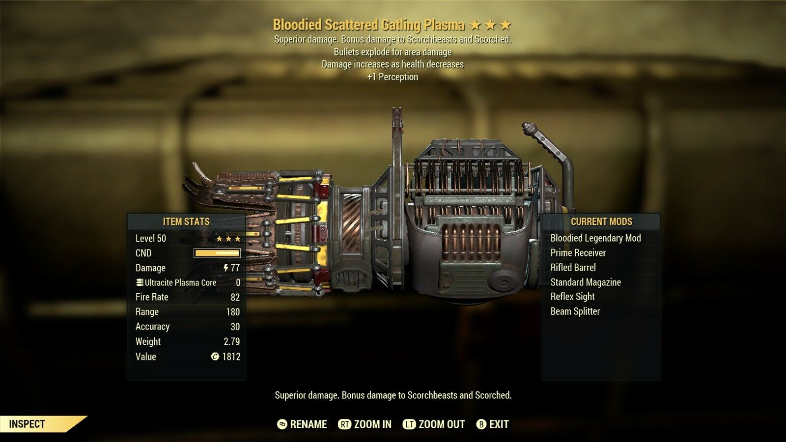 Bloodied Explosive Gatling Plasma +1 Perception fallout 76 xbox one