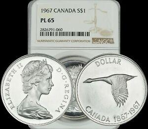 1967-CANADA-SILVER-GOOSE-1-DOLLAR-BU-NGC-PL-65-HIGH-GRADE-COIN