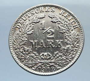 1918-WILHELM-II-of-GERMANY-1-2-Mark-Antique-German-Silver-Coin-Eagle-i71642