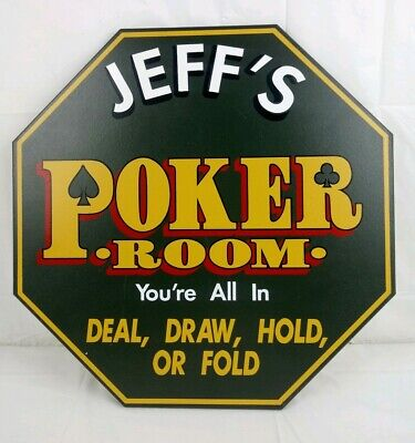 Jeff S Poker Room Wooden Sign Wall Plaque 16 X 16 Octagon By Kas Design Inc Ebay
