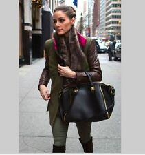 Zara Zip Bowling Black Leather Hand Shoulder Bag seen on Olivia Palermo Sold Out