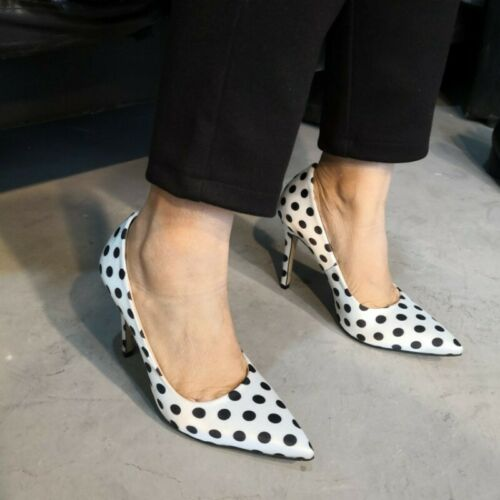 Womens Polka Dot Pointy Toe High Heel Stilettos Dress Party OL Shoes Size 35-47