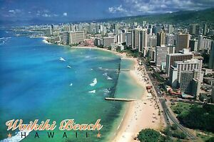 Details About Waikiki Beach From Above The Aquarium Honolulu Hawaii Blue Ocean Hi Postcard