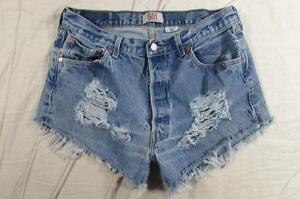 Womens-34-501-Button-Fly-Levi-Cut-Off-Denim-Shorts-High-Waist-Jeans-Distressed