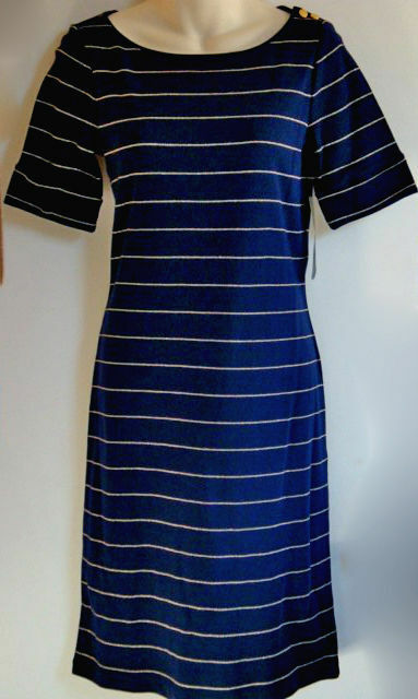 New Ralph Lauren Classic Navy Knit Dress gold Stripes  Short Sleeve M