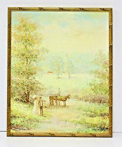 Victorian-Lady-Farm-Landscape-16-x-20-Oil-Painting-on-Canvas-w-Custom-Frame