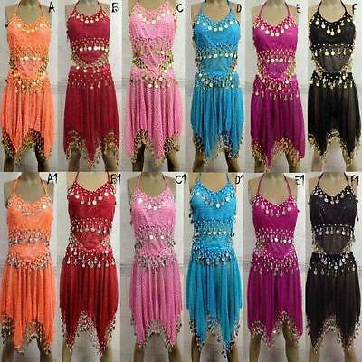 Sexy Bollywood Halloween Hand Made Belly Dance Costume Tops + Skirt Suites