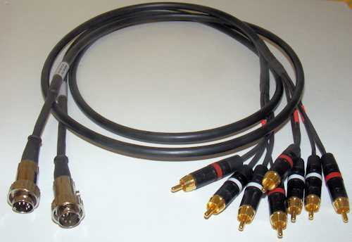 4 Phono Plugs Perf Cable Set For Use With NAIM AV2 2x 5 Pin Ring Lock DIN Plug