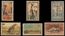 French Somali Coast-6 Different Old Mint Stamps-Animal, Tree, Mosque etc.
