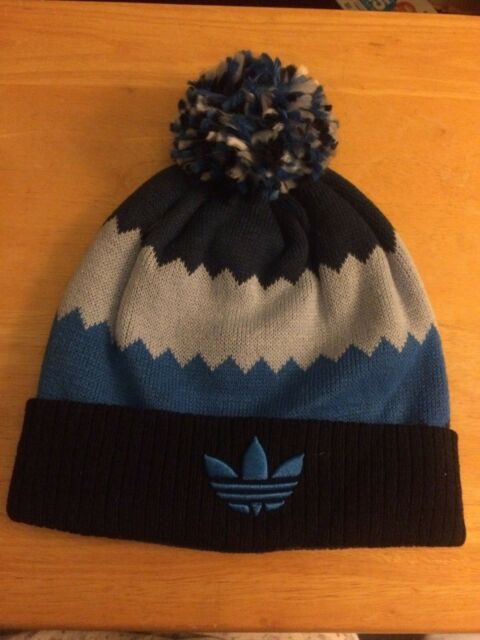 30f2f167 Adidas Originals Beanie Hat Blue Roadie Ballie Climawarm Knit NEW Pom Winter
