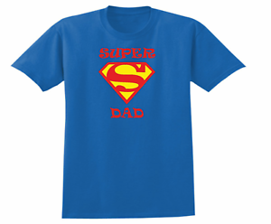 51f2f26d SUPER DAD fathers day present gift men's Crew neck T Shirt blue ...