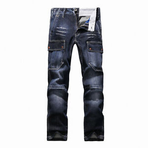 FOX-JEANS-Men-039-s-Monroe-Regular-Fit-Straight-Blue-Denim-Mens-Cargo-Jeans-SIZE-38