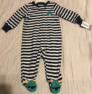 7fb4185c8cae Carter s 9 months Boy One piece pajama terry sleeper - blue white ...