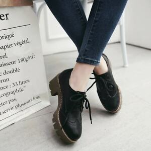 British-Womens-Brogue-Carved-Lace-up-Mid-Block-Heel-Retro-Wing-Tip-Oxfords-Shoes