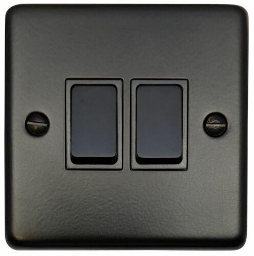 G/&h norme CFB2B plaque Matt Noir 2 Gang 1 ou 2 Façon Rocker Interrupteur De Lumière