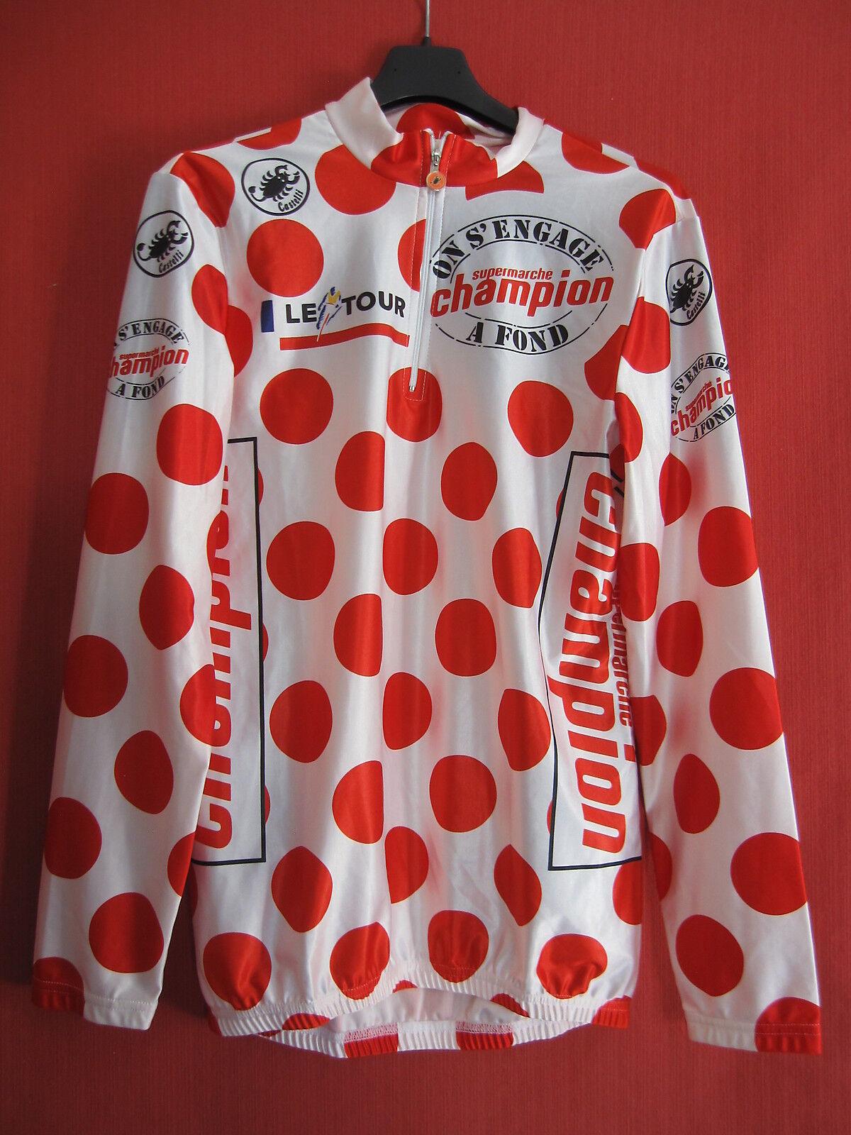Maillot cycliste à pois Castelli tour France Champion Manche Longue Vintage - 3