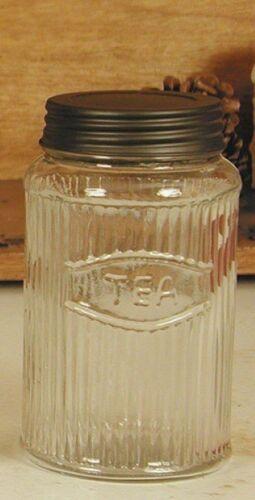 Hoosier Tea Jar Mission Pattern Clear Glass cabinet antique vintage old r...