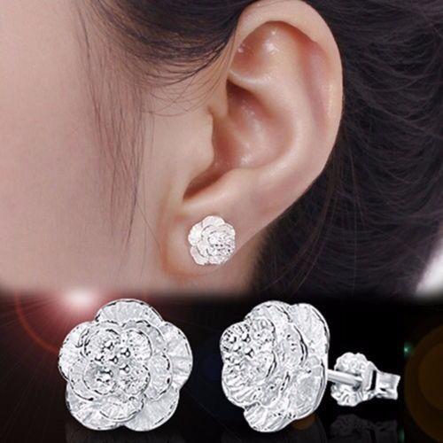 New Women's Elegant White  Flower Ear stud Earrings